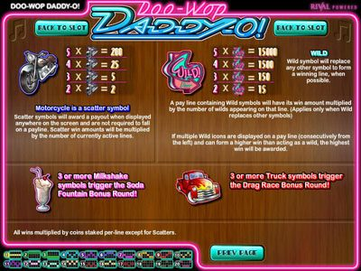 Golden Lion featuring the Video Slots Doo-Wop Daddy-O with a maximum payout of $25,000