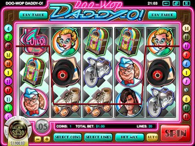 Joe Fortune featuring the Video Slots Doo-Wop Daddy-O with a maximum payout of $25,000