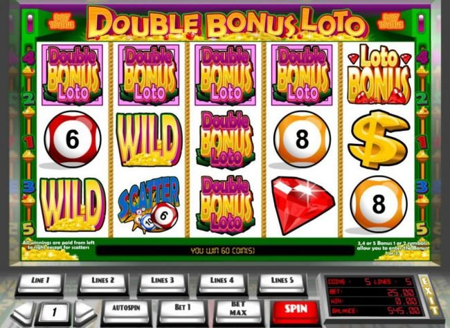 Tangiers featuring the Video Slots Double Bonus Loto with a maximum payout of $45,000