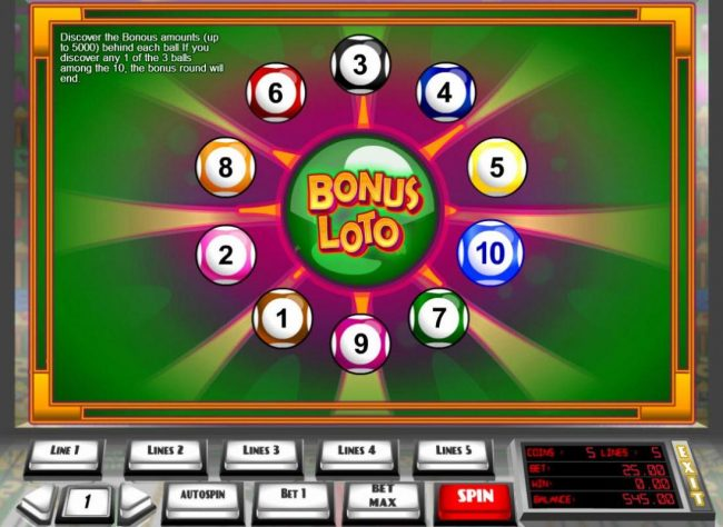 Slots Million featuring the Video Slots Double Bonus Loto with a maximum payout of $45,000