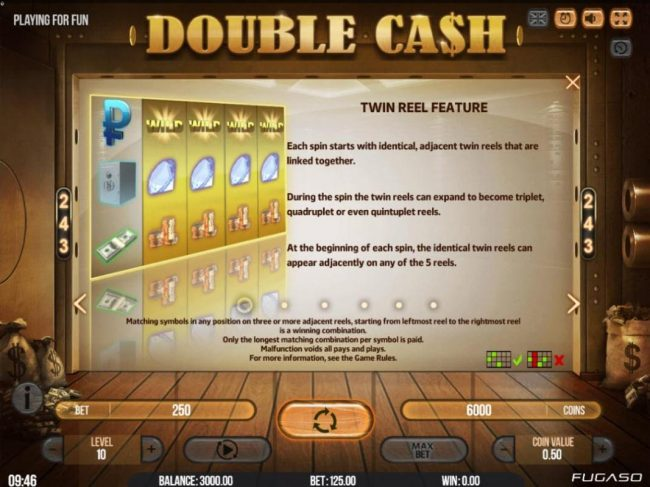 All Wins Casino featuring the Video Slots Double Cash with a maximum payout of $135,000