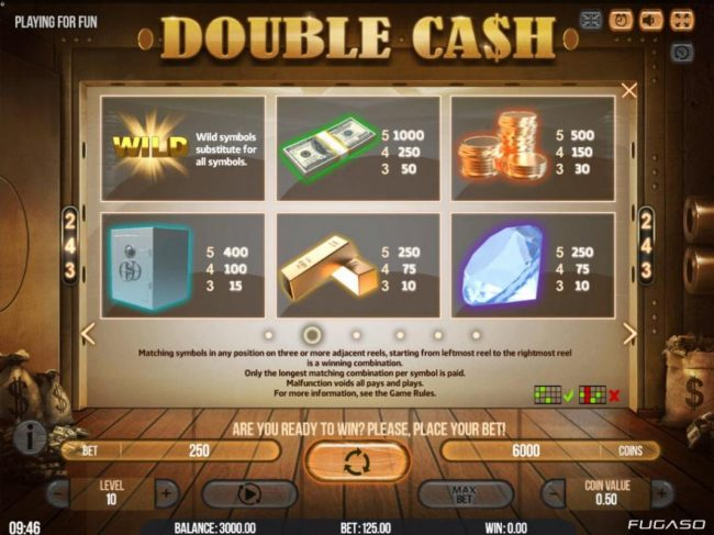 Napoli featuring the Video Slots Double Cash with a maximum payout of $135,000