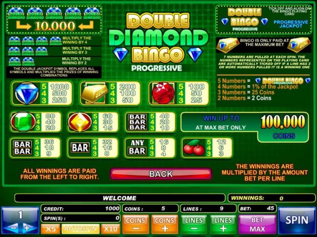Play slots at Tangiers: Tangiers featuring the Video Slots Double Diamond Bingo with a maximum payout of $50,000