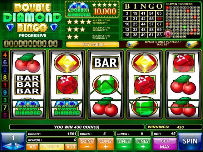 Play slots at Boaboa: Boaboa featuring the Video Slots Double Diamond Bingo with a maximum payout of $50,000