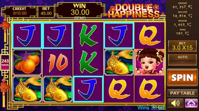 Play 24 Bet featuring the Video Slots Double Happiness with a maximum payout of 0