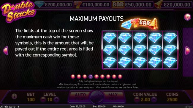 Neder featuring the Video Slots Double Stacks with a maximum payout of $200,000