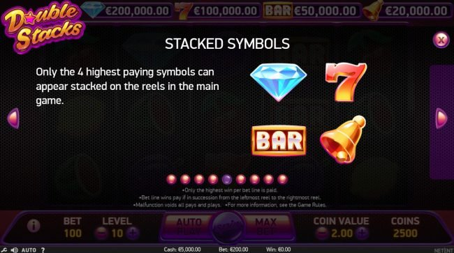 Bet At Casino featuring the Video Slots Double Stacks with a maximum payout of $200,000