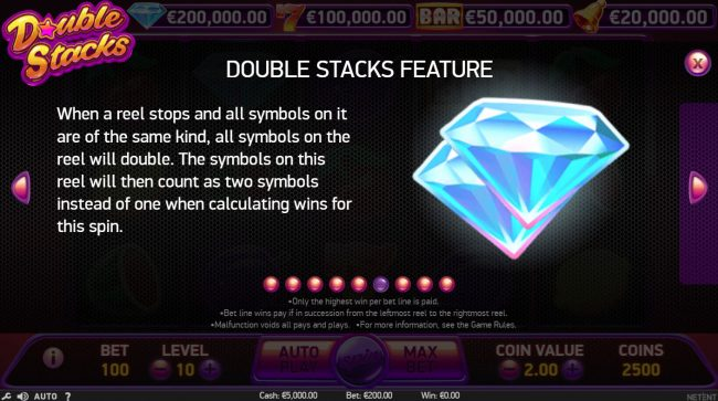 Jackpot Joy featuring the Video Slots Double Stacks with a maximum payout of $200,000