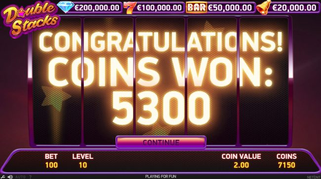 4 Stars featuring the Video Slots Double Stacks with a maximum payout of $200,000