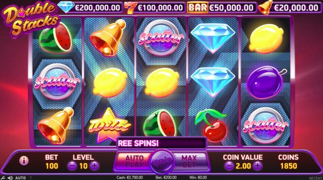 Lord of the Spins featuring the Video Slots Double Stacks with a maximum payout of $200,000