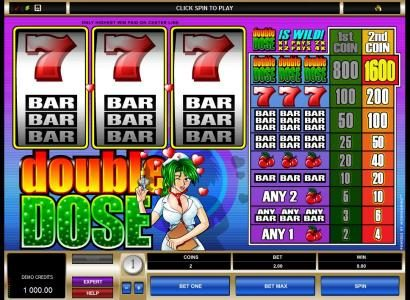 Play slots at Platinum Play: Platinum Play featuring the Video Slots Double Dose with a maximum payout of $1,600