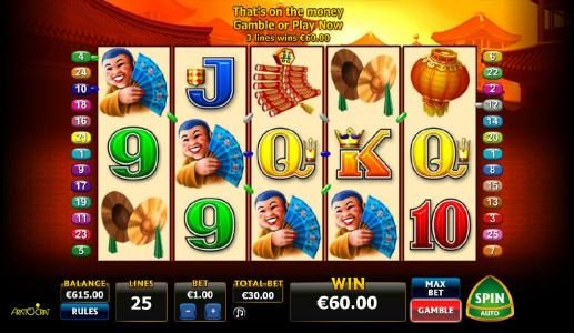 Club Vulkan featuring the Video Slots Double Happiness with a maximum payout of $5,000