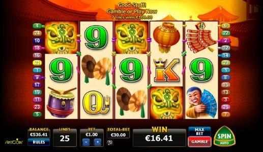 Seven winning paylines triggers a 100 big win