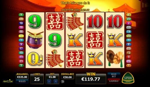 Three scatter symbols triggers a 125 payout and free games