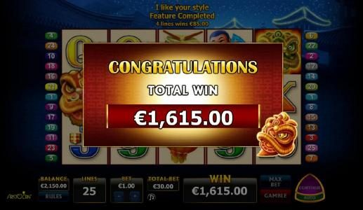 Free Games Feature pays out a $1,615 super big win