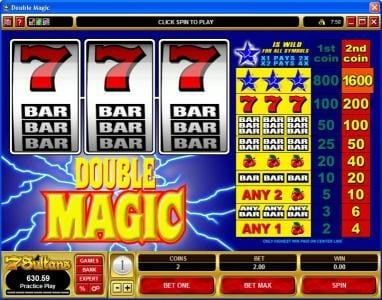 Play slots at 777Dragon: 777Dragon featuring the Video Slots Double Magic with a maximum payout of $32,000