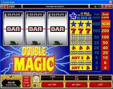 Lucky Nugget featuring the Video Slots Double Magic with a maximum payout of $32,000