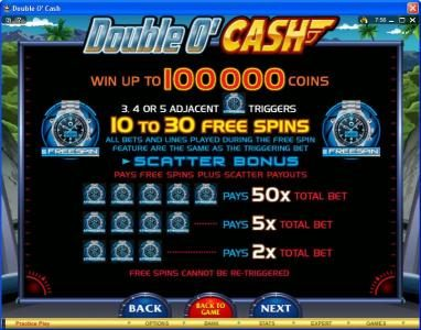VipSpel featuring the video-Slots Double O' Cash with a maximum payout of $500,000