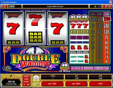Play slots at Jackpot Joy: Jackpot Joy featuring the Video Slots Double Wammy with a maximum payout of $37,500
