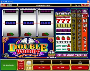 Play slots at VegasMobile: VegasMobile featuring the Video Slots Double Wammy with a maximum payout of $37,500
