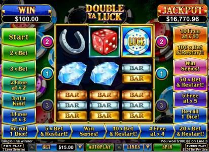 Three triple-bar symbols trigger a $100 payout