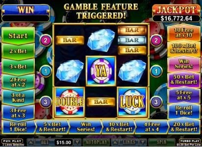 Mighty Slots featuring the Video Slots Double Ya Luck with a maximum payout of $250,000