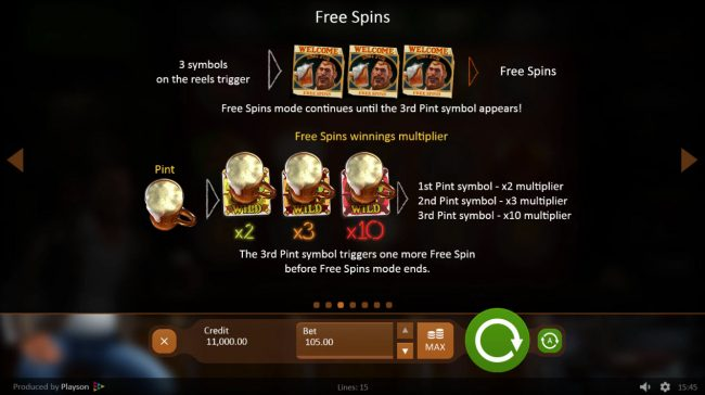 Down the Pub :: Free Spins Rules