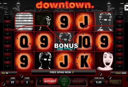 Free Spins Feature triggered, five free spins awarded