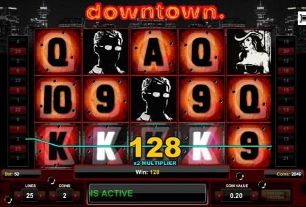 Four of a Kind triggers a 128 coin big win.