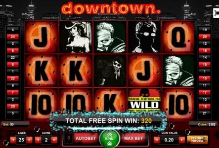 The Free Spins Feature pays out a 320 coin jackpot.