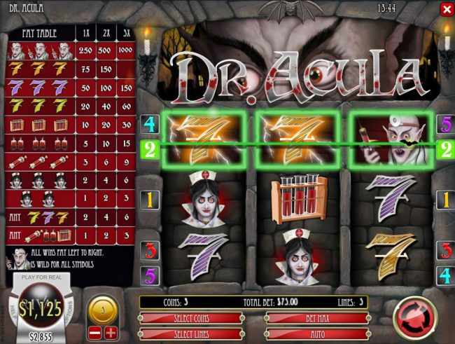 Tradition featuring the Video Slots Dr. Acula with a maximum payout of $25,000