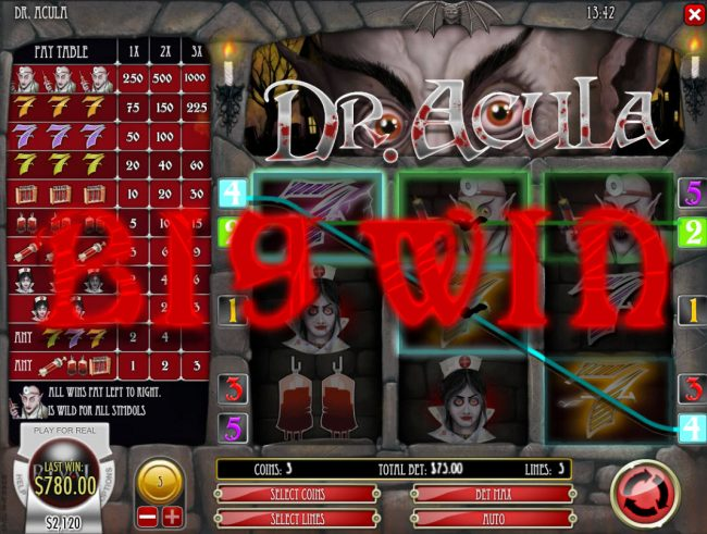 Royal Planet featuring the Video Slots Dr. Acula with a maximum payout of $25,000