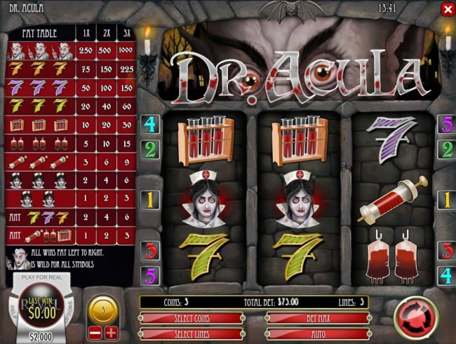 Riviera Play featuring the Video Slots Dr. Acula with a maximum payout of $25,000