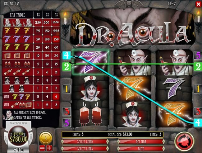 Vegas2Web featuring the Video Slots Dr. Acula with a maximum payout of $25,000