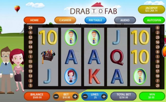 Drake featuring the Video Slots Drab to Fab with a maximum payout of $50,000