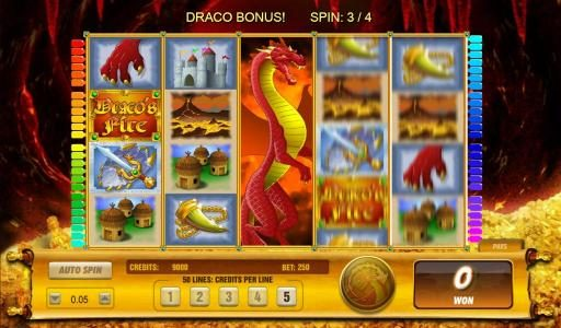 Ocean Bets featuring the Video Slots Draco's Fire with a maximum payout of $6,250