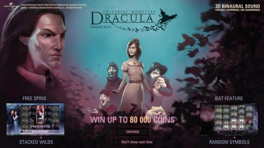 Dracula :: This game features: free spins, stacked wilds, bat feature, random wilds and the chnace to win up to 80,000 coins.
