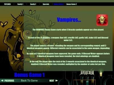 Vampires bonus game rules