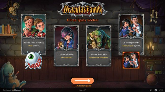 Play slots at Voodoo Dreams: Voodoo Dreams featuring the Video Slots Dracula's Family with a maximum payout of $42,000