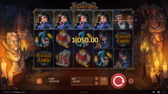 Triple Aces featuring the Video Slots Dracula's Family with a maximum payout of $42,000