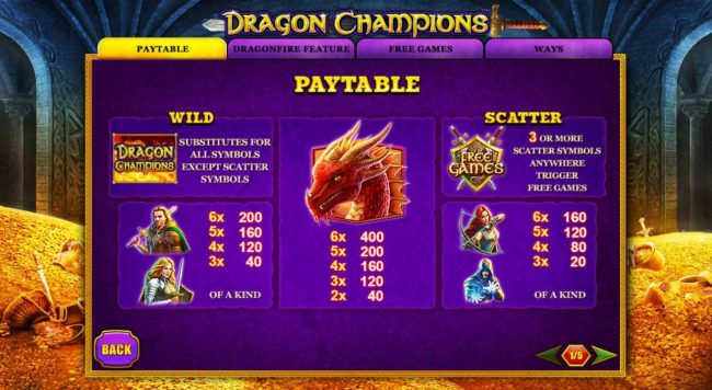 Dragon Champions :: Paytable