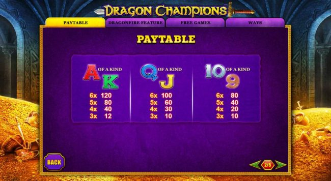 Dragon Champions :: Low value game symbols paytable