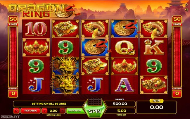 Mongoose Casino featuring the Video Slots Dragon King with a maximum payout of $500