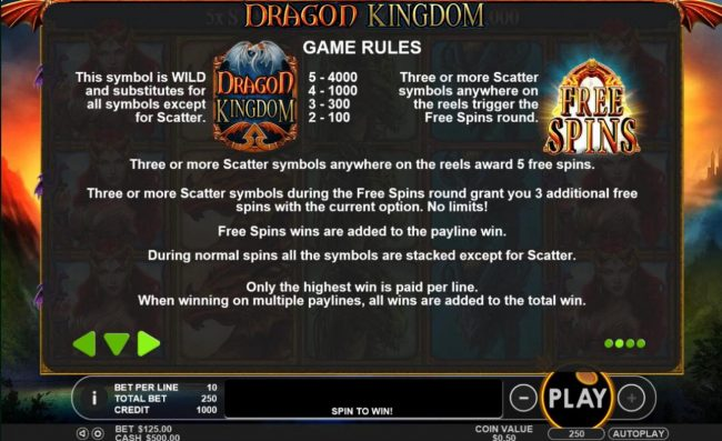 Go Wild featuring the Video Slots Dragon Kingdom with a maximum payout of $50,000
