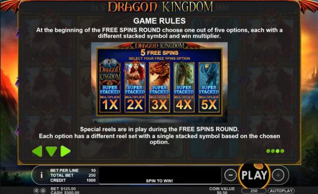 Casino States featuring the Video Slots Dragon Kingdom with a maximum payout of $50,000