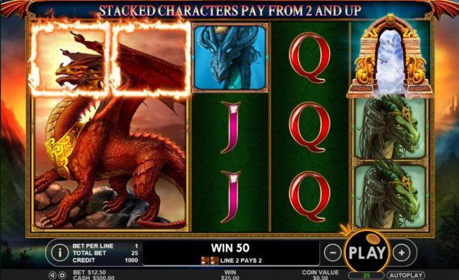 Spiral featuring the Video Slots Dragon Kingdom with a maximum payout of $50,000