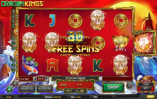 123 Vegas Win featuring the Video Slots Dragon Kings NJP with a maximum payout of $280,785