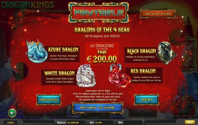 Rich Casino featuring the Video Slots Dragon Kings NJP with a maximum payout of $280,785