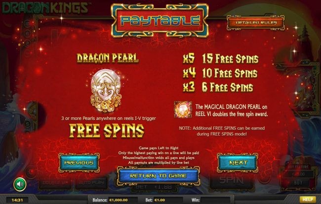 770Red featuring the Video Slots Dragon Kings NJP with a maximum payout of $280,785