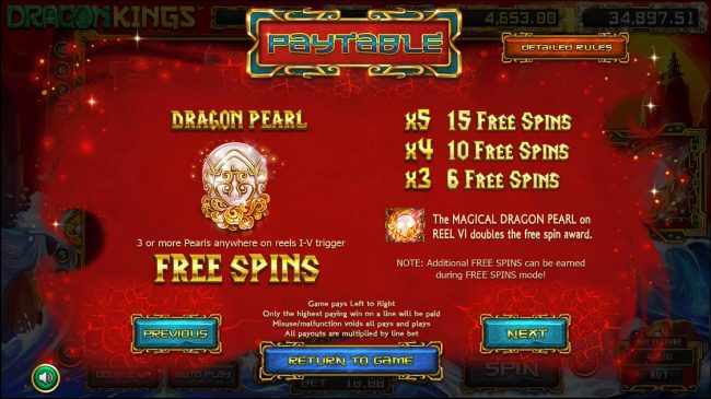 Dragon Kings :: Free Spins Rules